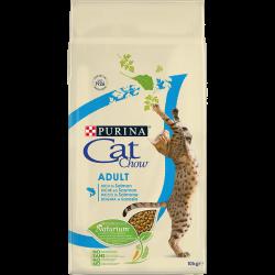 Cat Chow Adult avec NaturiumTM - Riche en Saumon - Croquettes chat - 10 kg