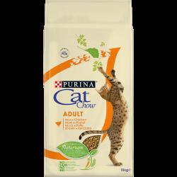 Cat Chow Adult avec NaturiumTM - Riche en Poulet - Croquettes chat - 10 kg