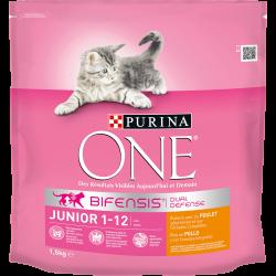 Purina One Junior de 1 à 12 mois Poulet & Céréales Complètes - Croquettes pour chaton - 1,5 kg