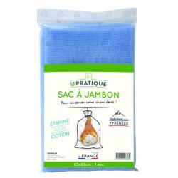 Sac à jambon étamine coton azuré 65 x 85 cm - Le Pratique